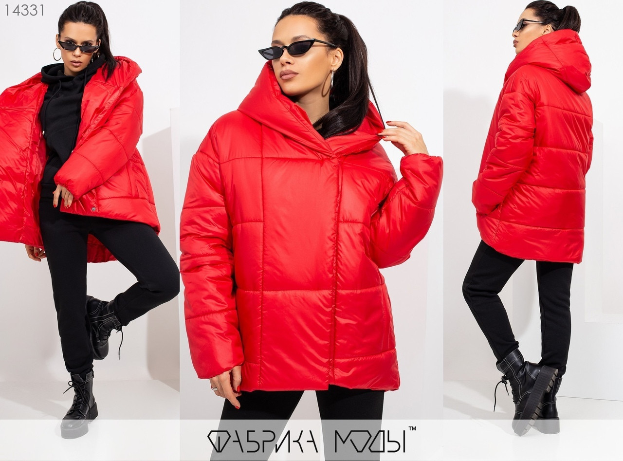 Теплая женская куртка с капюшоном раз. S.M