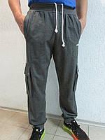 Мужские спортивные брюки Adidas темно-серый с белым  08Б