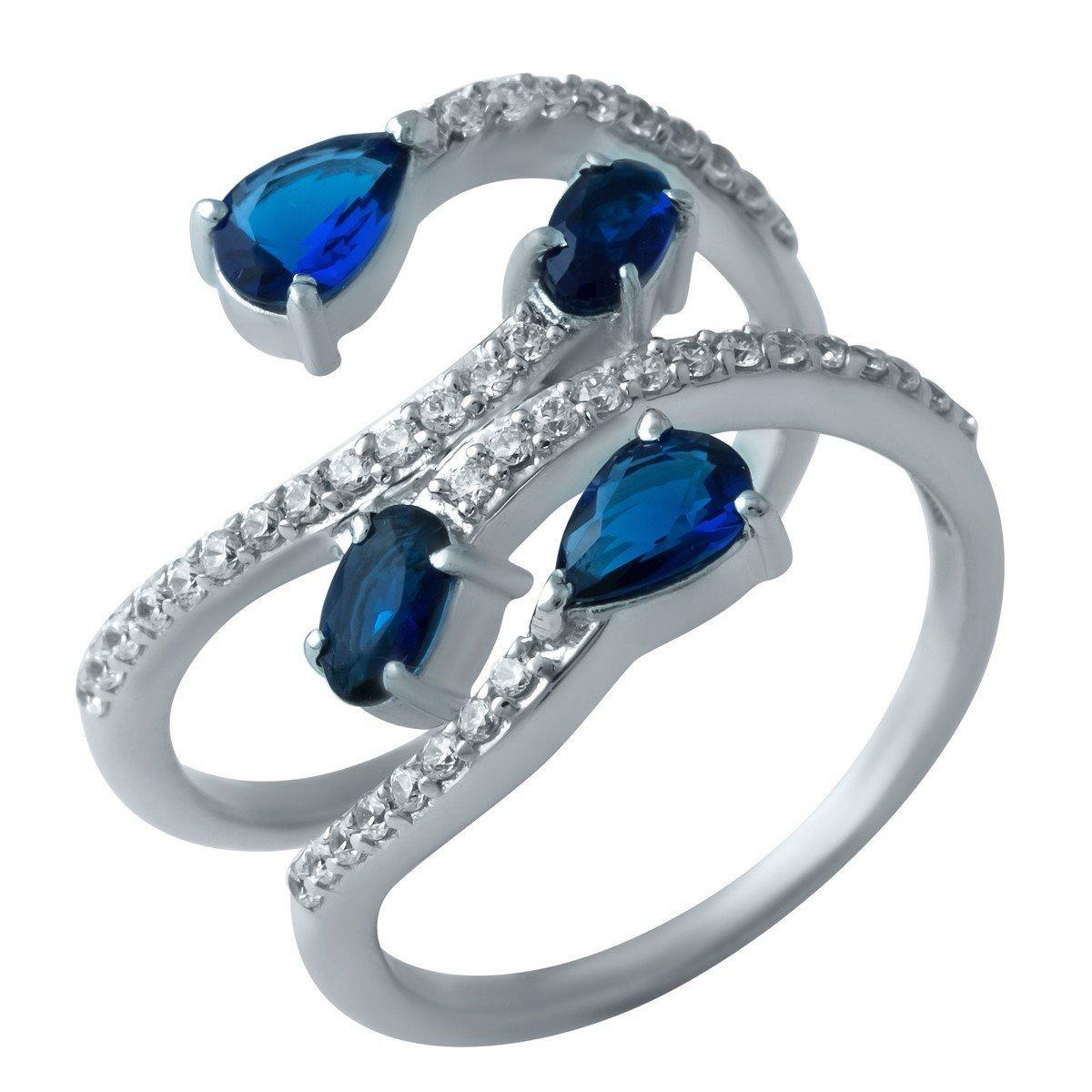 Серебряное кольцо SilverAlex с сапфиром nano (1911844) 17 размер