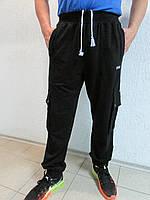 Мужские спортивные брюки Adidas черный с белым  09Б