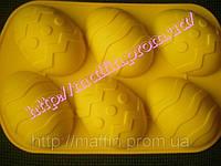 Форма силиконовая Пасхальные яйца большие планшет 6 шт