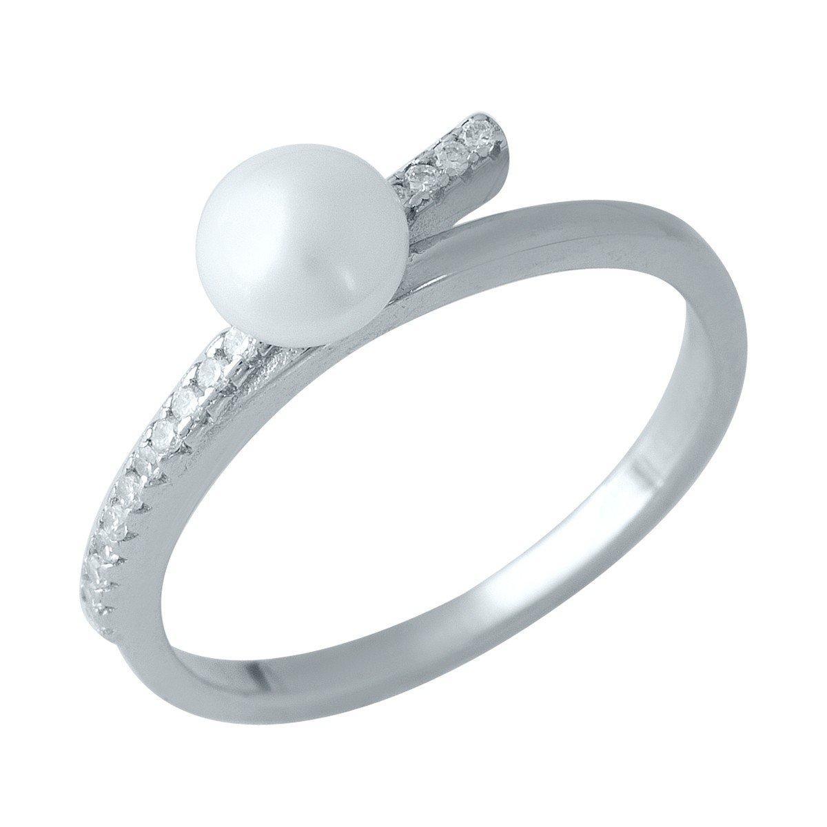 Серебряное кольцо SilverAlex с натуральным жемчугом (1977927) 17 размер