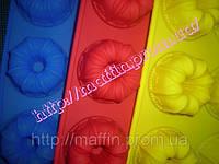 Форма силиконовая Цветы маленькие со втулкой планшет 6шт, фото 1