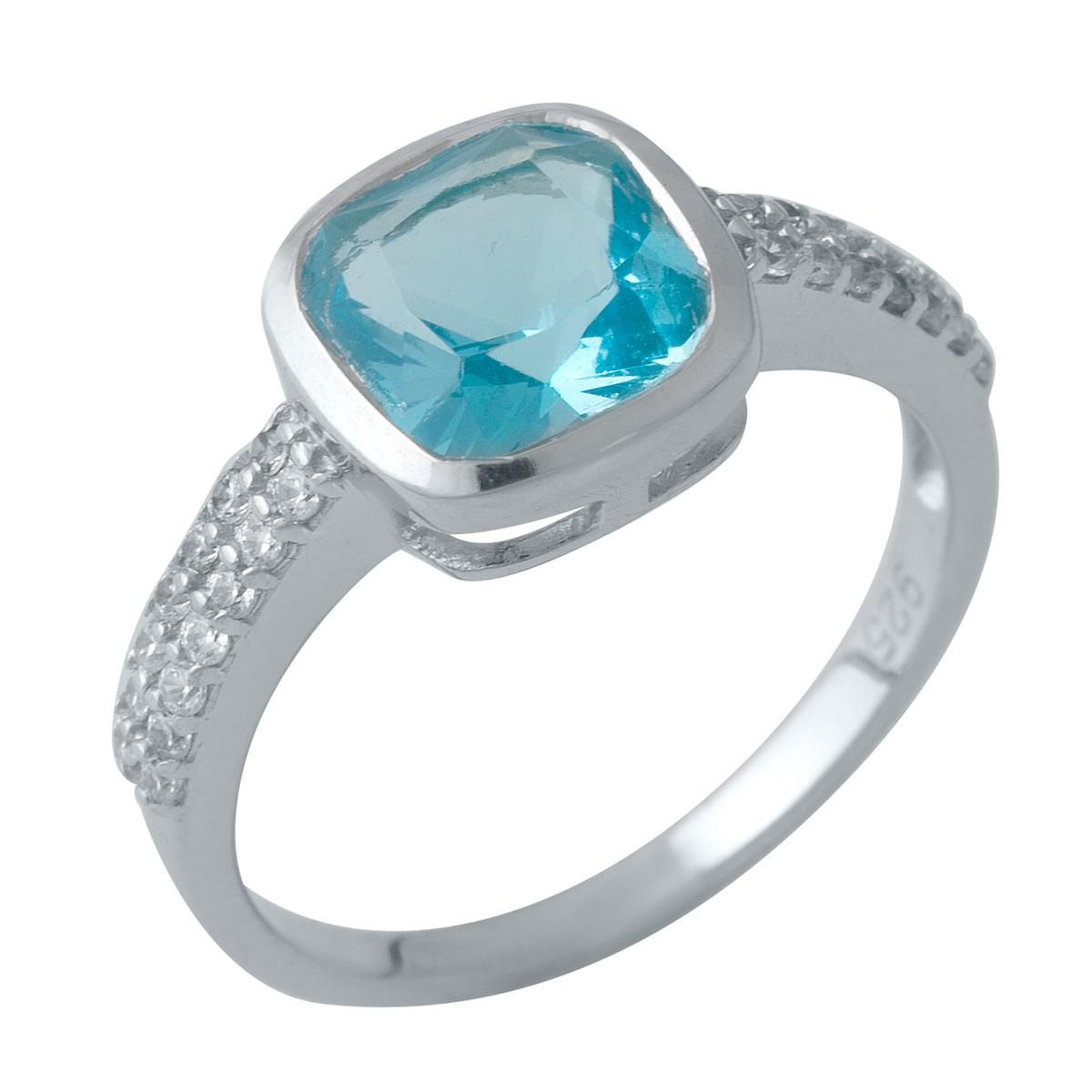 Серебряное кольцо SilverAlex с аквамарином nano (1990148) 18.5 размер
