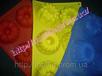 Форма силиконовая Ассорти цветочное со втулкой планшет 6шт, фото 1