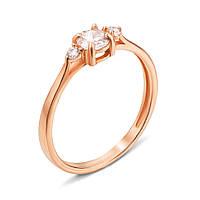 Золотое кольцо Жюли с тремя фианитами 000101679 16 размер