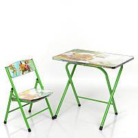 Столик A19-JUNGLE  складной, столешница 60-40см, 1стульчик, в кор-ке,джунгли