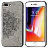 Чехол Embossed для Iphone 7 Plus / 8 Plus бампер накладка тканевый серый