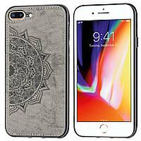 Чехол Embossed для Iphone 7 Plus / 8 Plus бампер накладка тканевый серый, фото 1