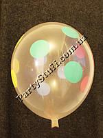 """Надувные шарики кристалл Полька 12"""" (30 см), 100 шт"""