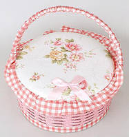 Шкатулка для рукоделия Мастерица 23.5х23.5х12 см Provence Basket Pink Cart Bona