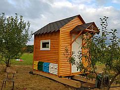Апи-домик Модель №2 (крыша двухскатная + козырек)
