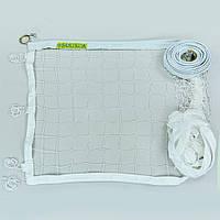Сетка для волейбола Эконом10 Норма NEW  (синтетический шнур 2,5мм, р-р 9,5x1м, ячейка 10x10см, метал. трос, белый) Распродажа!