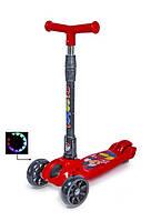 Самокат трехколесный детский складная ручка Smart mini. Микки Маус. Колеса светятся при катании!, фото 1