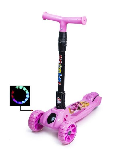 Самокат трехколесный детский складная ручка Smart mini. Свинка Пеппа. Колеса светятся при катании!