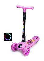 Самокат трехколесный детский складная ручка Smart mini. Свинка Пеппа. Колеса светятся при катании!, фото 1
