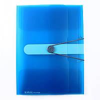 Папка А4 на резинке, прозрачная, пластиковая, голубая
