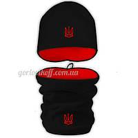 Набор Бафф (Горловик) + Шапка в стиле Украина чёрно / красный
