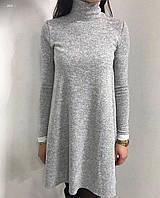 Платье женское ангоровое под шею короткое с длинным рукавом