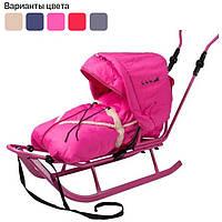 Санки коляска детские Adbor Piccolino со спинкой, ручкой, капюшоном и конвертом для детей Розовый