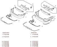 Бампер задний Hyundai Sonata -07 один выхлоп без отверстий под парктроник (FPS)