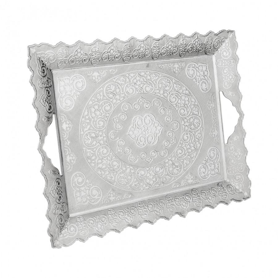 Поднос медный прямоугольный серебристый 41х30 см