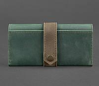 Кошелек-клатч кожаный женский зеленый (ручная работа), фото 1