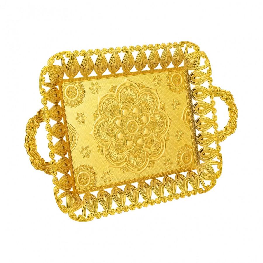 Поднос медный прямоугольный золотистый 28x45 см