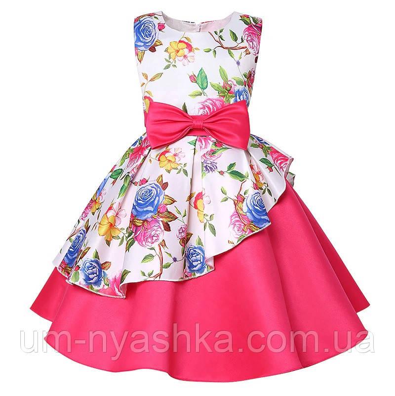 Рожеве асиметричне дитяче ошатне плаття 122-134