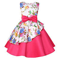 Розовое асимметричное детское нарядное платье 122-134