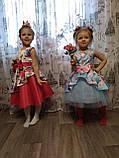 Рожеве асиметричне дитяче ошатне плаття 122-134, фото 3