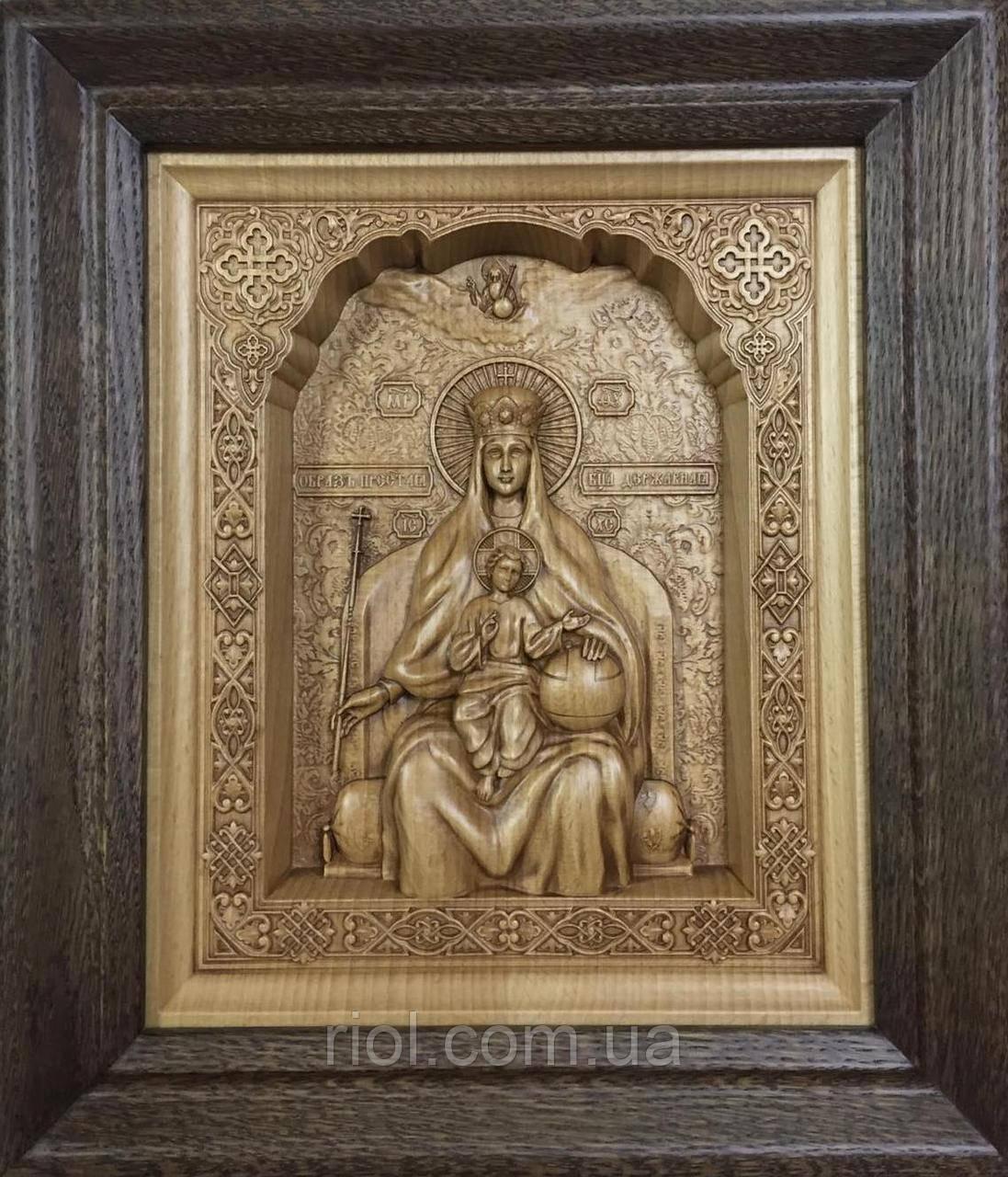 Икона Божией Матери Пресвятой Богородицы Державная резная из бука с рамой