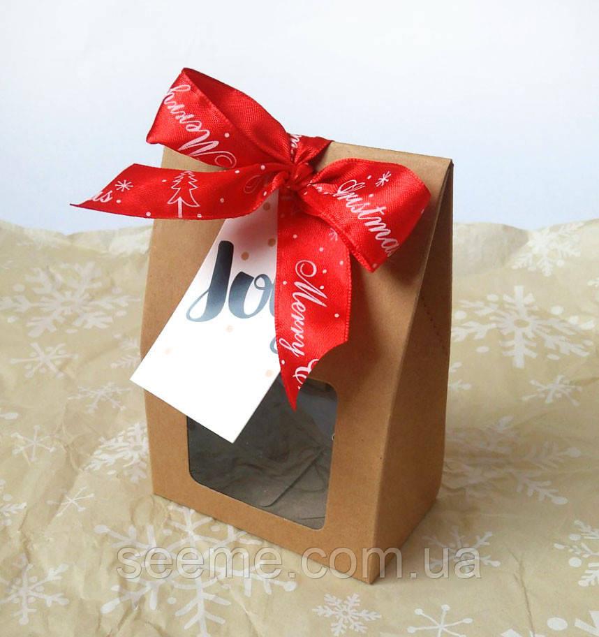 Коробка из крафт картона с окошком 100х60х150 мм.