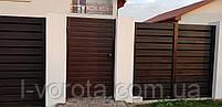 Сдвижные ворота зашивка сендвич-панелью ш3900, в2000 и калитка ш1000, в2000, фото 4