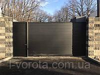 Откатные ворота из сендвич-панелей ш4500, в2500 и калитка ш900, в2500, фото 2