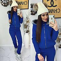 Женский теплый костюм с капюшоном, синий, материал - трехнитка с начесом, код G-401