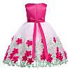 Детское нарядное платье Розовое цветочной аппликацией на 6-8 лет - Фото