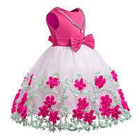 Детское нарядное платье Розовое цветочной аппликацией на 6-8 лет