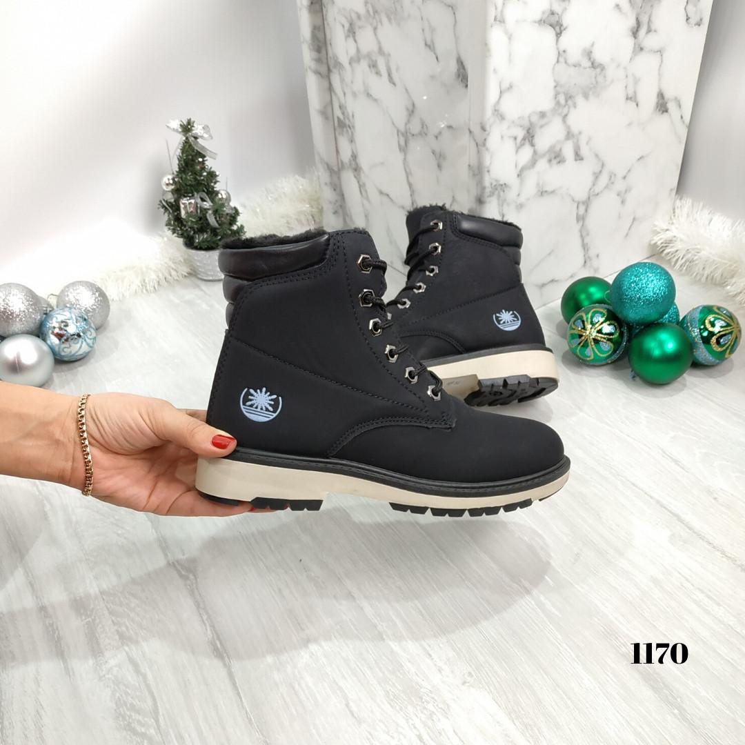 Женские ботинки зимние черные