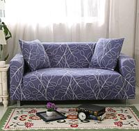 Чехол для двухместного дивана синий с узором (уценка)