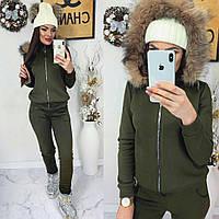 Женский теплый костюм с капюшоном, хаки, материал - трехнитка с начесом, код G-401
