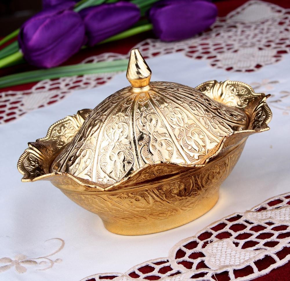 Сахарница овальная золотистая 16х12х10 см