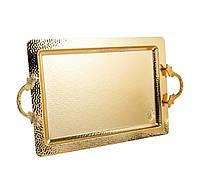 Поднос медный прямоугольный золотистый 53x33 см