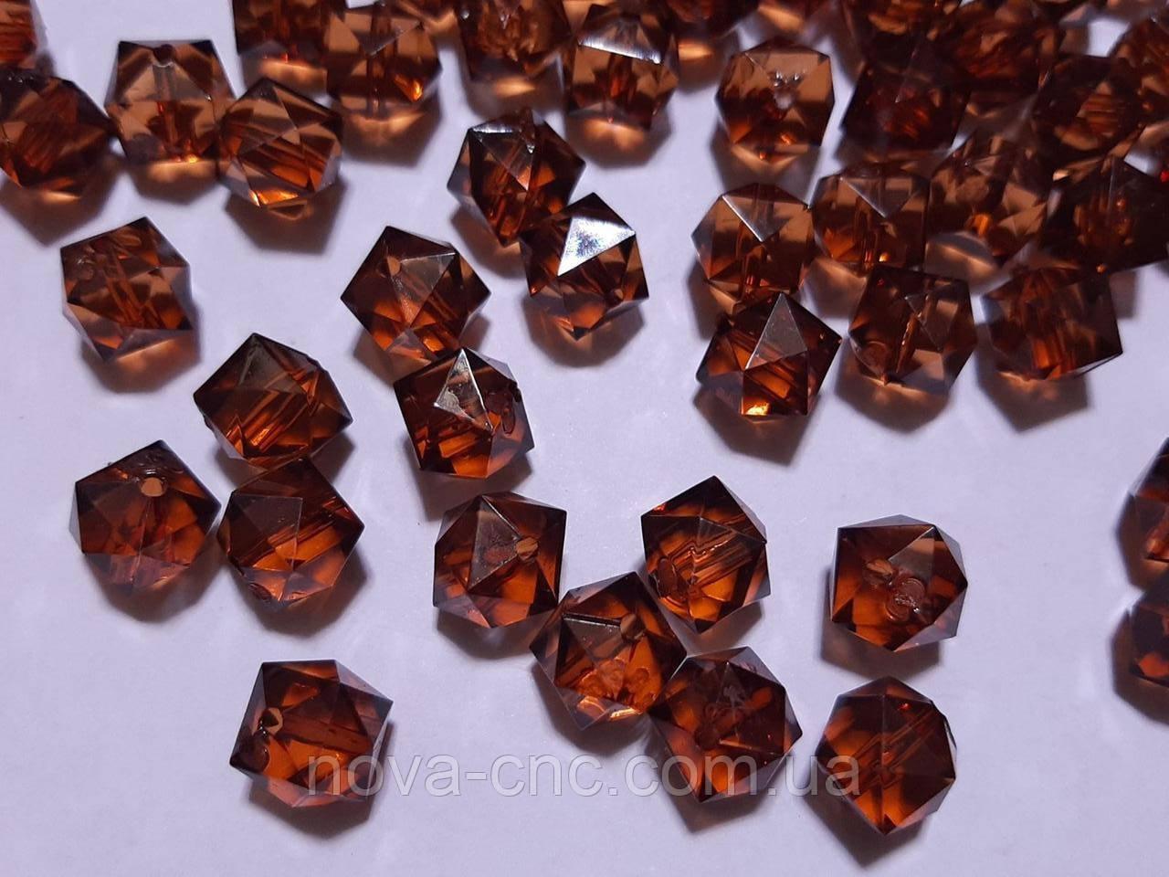"""Бусины акрил """"Куб грани"""" темно коричневый 10 мм 500 грамм"""