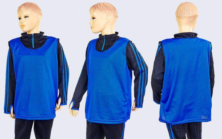 Манишка для футбола юниорская цельная (сетка) CO-5541 (PL, р-р M-50х57см, цвет синий)