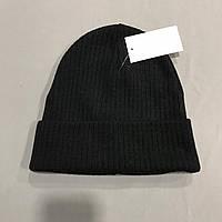 Шапка черная с отворотом детская р.52-54 (5-8 лет)