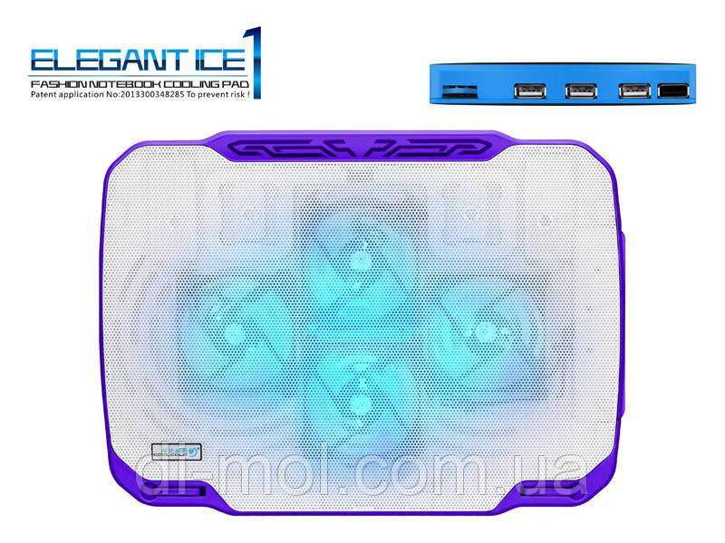 Охлаждающая подставка для ноутбука CoolCold K21-2, (белый/красный, белый/фиолетовый)
