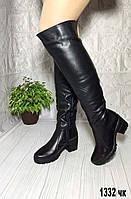Женские зимние кожаные ботфорты на небольшом каблуке