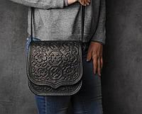 Кожаная квадратная женская сумка,черная сумочка с тисненым орнаментом, сумка через плечо, фото 1