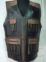 Жилет мужской из натуральной кожи  длина 65 см карман молния-коричневый  48р-50р